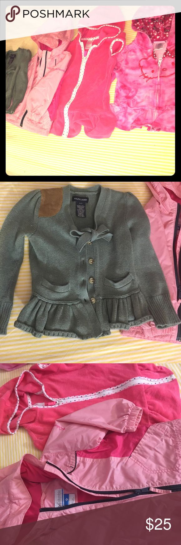 3t, jacket/bundle. I-Ralph Lauren jacket, +3 more. Ralph Lauren 3T forest green sweater jacket, 1-pink Hello kitty, zip front jacket, 1-Colombia light and hot pink wind breaker zip front jacket, Corcoran 3t hot pink beach cover up. Bundle cost for all four, all 3 t. Ralph Lauren Shirts & Tops Sweaters