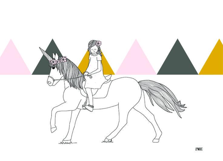 """""""My Unicorn"""" illustration enfant, licorne, rose, moutarde, gris, triangle, affiche enfant, décoration enfant, LPMDC"""