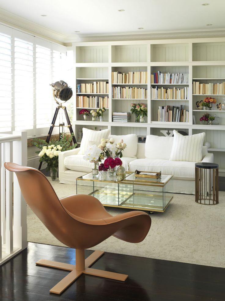 BELLEVUE ABODE   alwill  #interiors #bookshelf #leather #neutral #lounge #livingroom