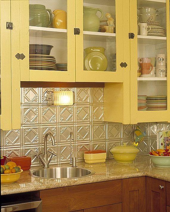 tin back-splash: Back Splashes, Bungalows Kitchens, Tins Backsplash, Backsplash Ideas, Kitchens Ideas, Yellow Cabinets, Tins Tile, Vintage Kitchen, Tile Back Splash