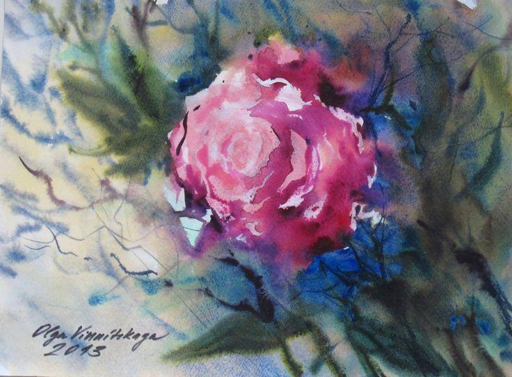 Olga Vinnitskaya. Rose. Aquarell nass in nass.