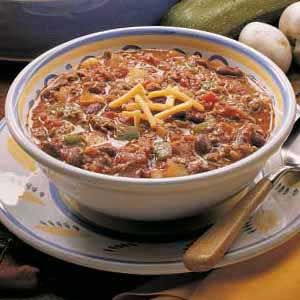 Taste of Home's Slow-Cooked Chili Recipe...we make it more southern, adding 2 to 3 jalopenos, and using pinto beans instead of kidneys!
