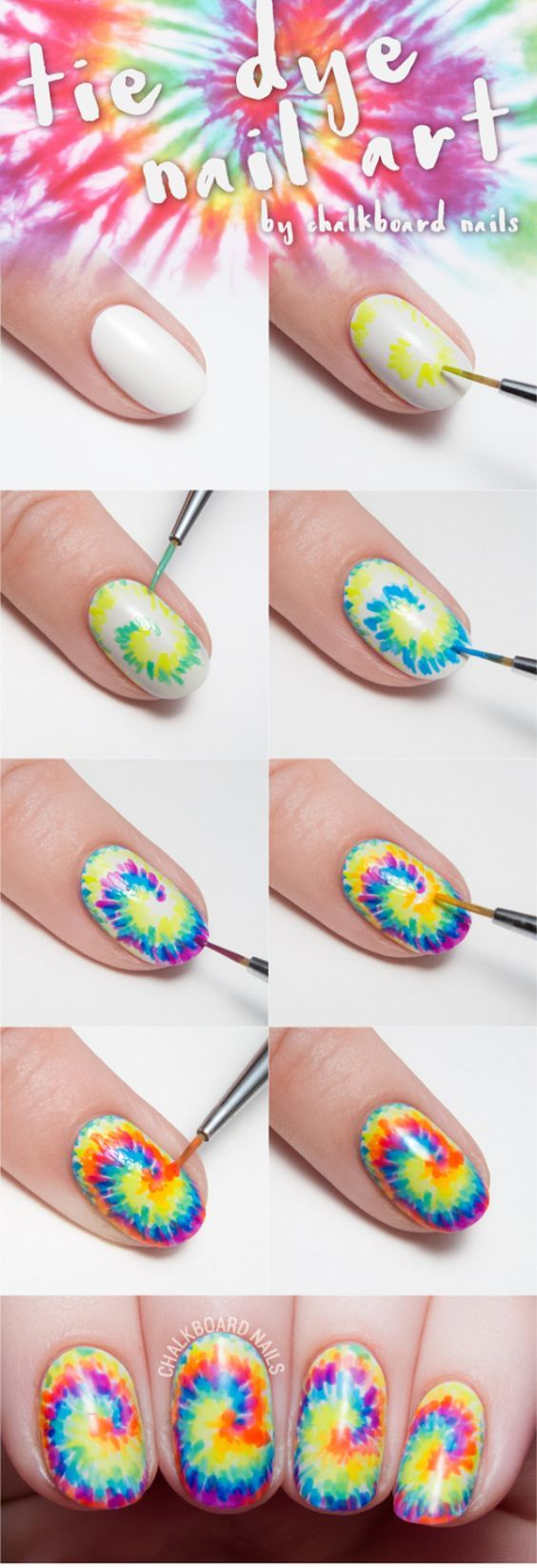 Awesome Nail Art Patterns And Ideas - Tie Dye Nail Art - Step by Step DIY Nail…