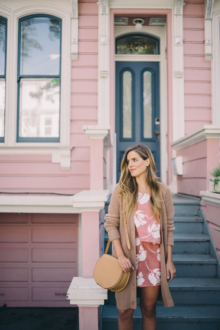 Perfect pieces. Via Girl Meets Glam.  Cardigan outfit, rose dress outfit, rose romper outfit, pink outfit neutrals outfit.