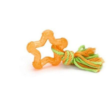 Een kleurrijk felgekleurd hondenspeeltje, genaamd Star. Dit hondenspeeltje is gemaakt van TPR, wat een rubber soort is met een hoge flexibliteit. Voor urenlang speelplezier voor de wat kleinere honden. Lengte: 8 cm. Kleur: oranje.