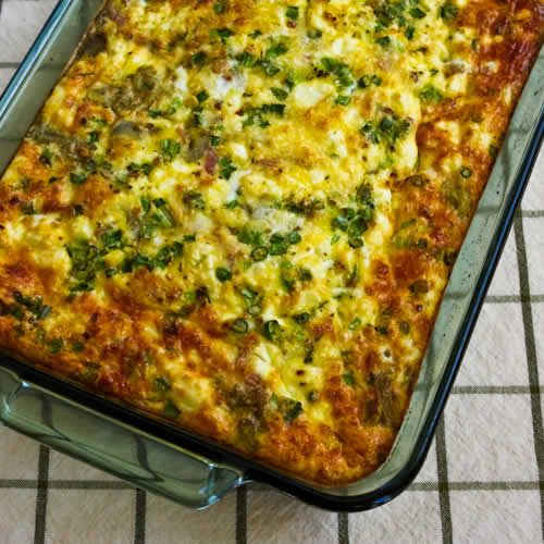 Breakfast casserole with artichokes, goat cheese and canadian bacon..this site has great low carb recipes