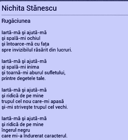 Rugaciunea de Nichita Stanescu, poezii romanesti