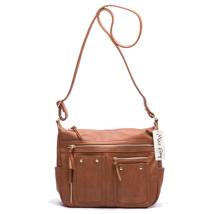 Miss Fong Crossbody Bags for Women Messenger Bag with Multi Pockets and Adjustable Shoulder Strap(Brown)