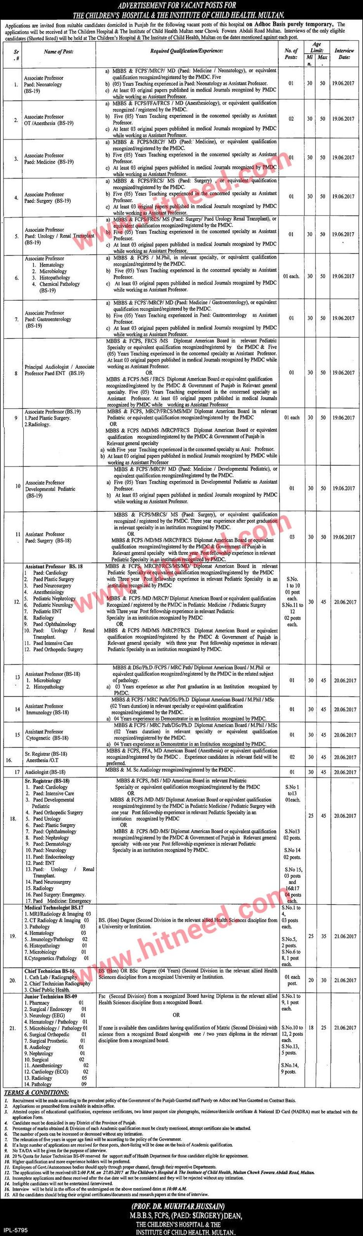 The Children's Hospital & The Institute of Child Health, Multan ADVERTISEMENT FOR VACANT POSTS Applications are invited from suitable candidates domiciled in Punjab for the following vacant posts of The Children's Hospital & The Institute of Child Health on Adhoc Basis purely temporary,   #Assistant Professor #Associate Professor #Hospital Jobs #Multan Jobs #Technician