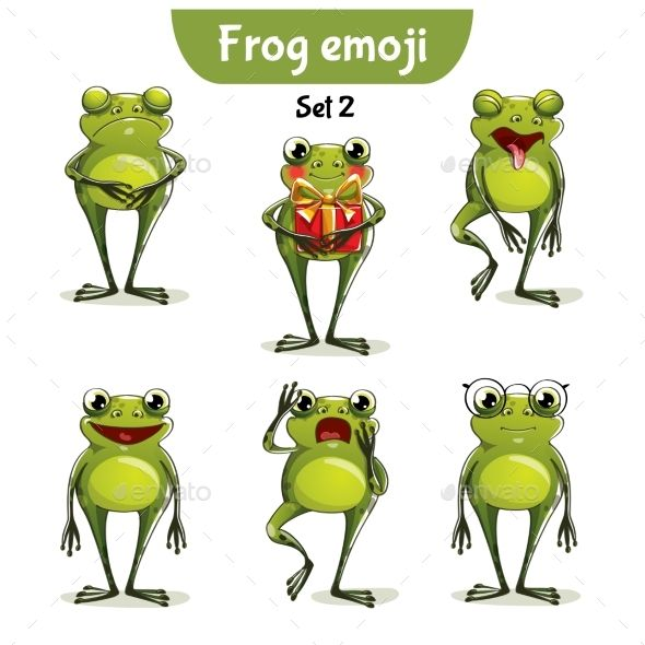 Set kit collection sticker emoji emoticon emotion vector isolated illustration happy character sweet, cute frog