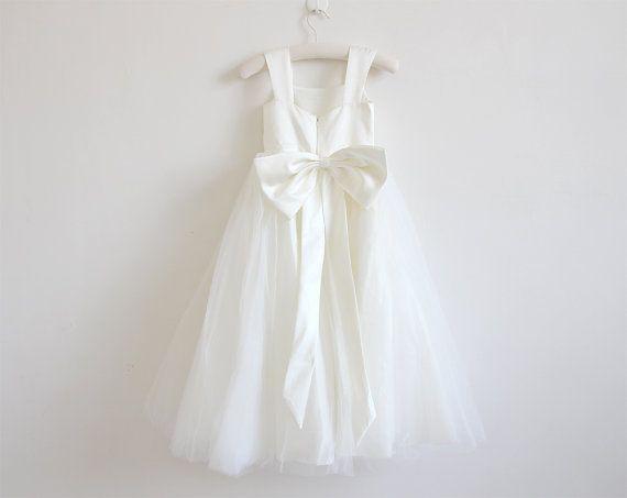 Luce avorio fiore ragazza vestito Tulle Avorio di AlexDress