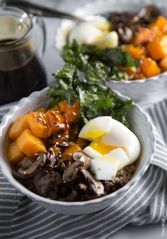 Barley Rice Bowl with vegetables and soft boiled egg in teriyaki sauce