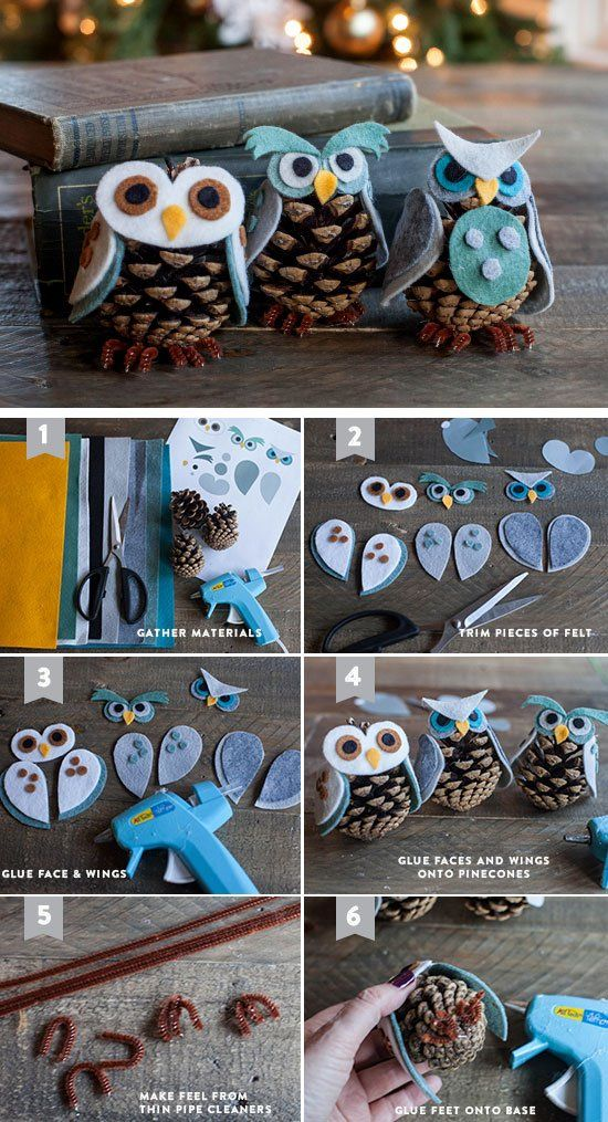 Felt & Pinecone Owl Ornamants | Click for 25 DIY Christmas Crafts for Kids to Make | DIY Christmas Decorations for Kids to Make