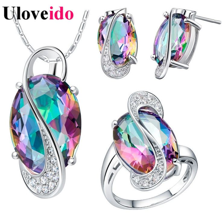50% off uloveido bruiloft sieraden sets voor vrouwen bruiden 925 sterling zilver stud oorbellen ring ketting bruids sieraden set t155