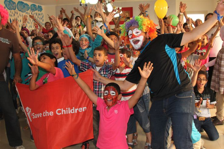 Activities to mark World Refugee Day in Egypt. Syrian and Egyptian children celebrate the end of day two of a five day workshop on coexistence, held in Save the Children's Child Friendly Space (CFS) in 6th of October City, Greater Cairo. 30 Syrians and 30 Egyptians took part in the activities, which aim to establish an intercultural dialogue between the different nationalities.