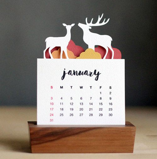 Minimalist Paper Cut Desk Calendar by Purna Project.