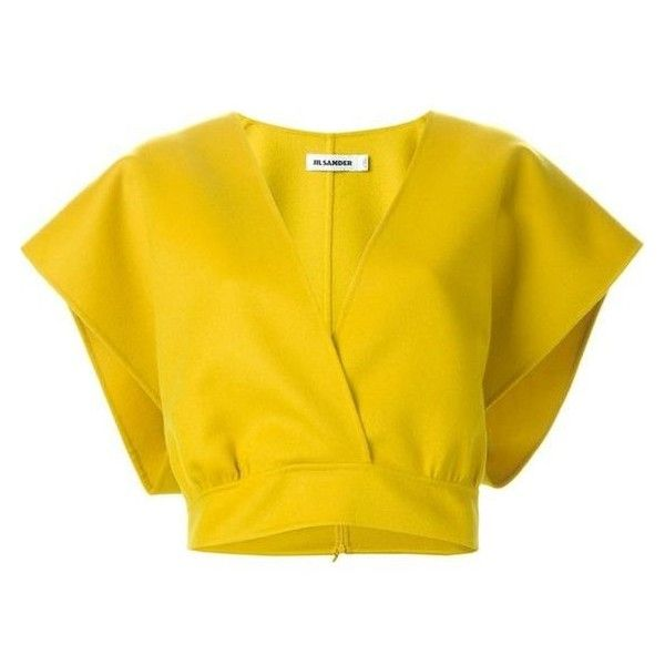 Jil Sander Cropped Wrap Top ❤ liked on Polyvore featuring tops, crop top, jil sander, yellow top, wrap top, jil sander top and wrap crop top