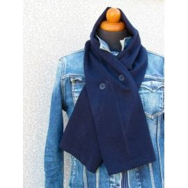 Knit Scarf with Buttons - Blue