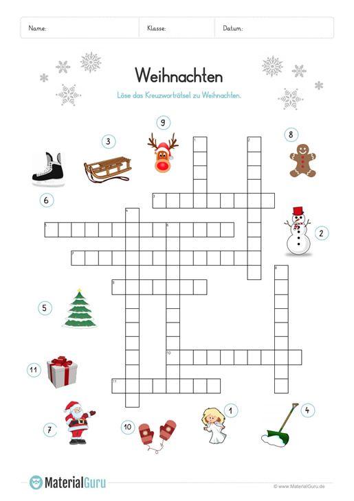 ein kostenloses arbeitsblatt zum thema weihnachten auf dem die sch ler ein kreuzwortr tsel zu. Black Bedroom Furniture Sets. Home Design Ideas