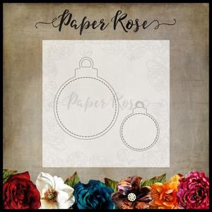 PAPER ROSE DIE Stitched Christmas Ornaments 2 piece - baubles decoration metal cutting dies