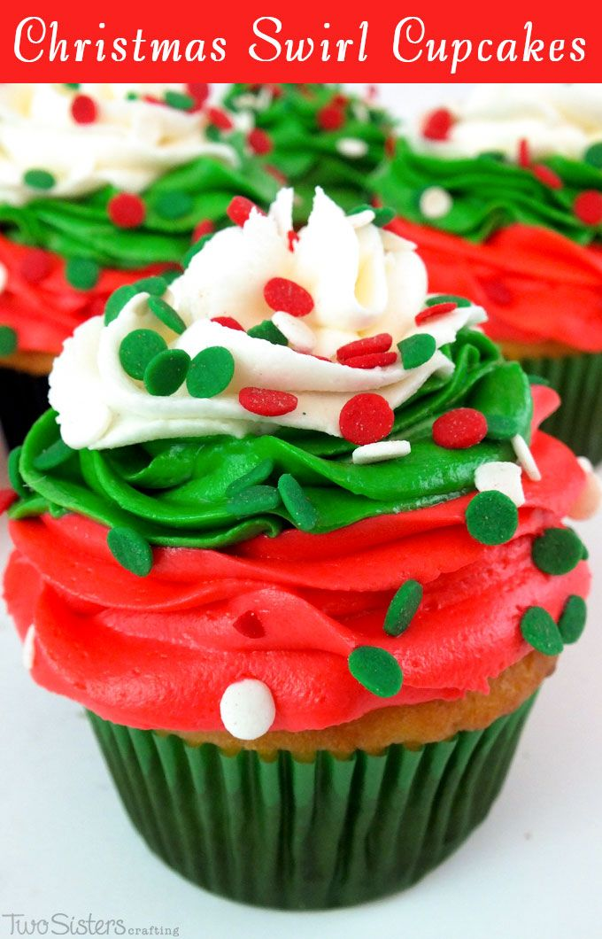 Christmas Swirl Cupcakes - a beautiful Christmas Cupcake for your holiday parties. Christmas Desserts never looked so good. For more great Christmas Treats follow us at http://www.pinterest.com/2SistersCraft/