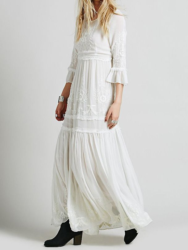 Bell Sleeve Embroidered Maxi White Dress 41.33