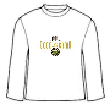 100% cotton preshrunk jersey knit white t-shirt with taped neck and shoulders. Good in Every Grain logo on full front.