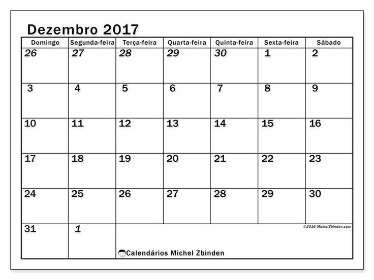 Livre! Calendários para dezembro 2017 para imprimir