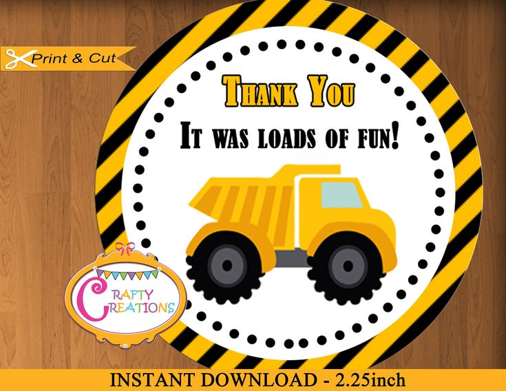 Construction Favor Tags Dump Truck Birthday Party Baby