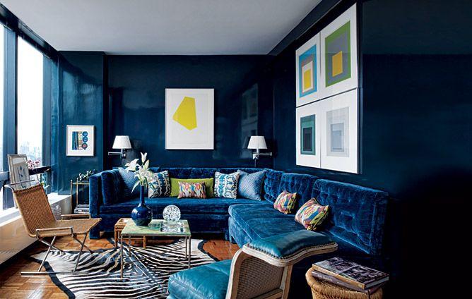 Love this Blue Paintcolor: Blue Rooms, Blue Velvet, Josef Albers, Blue Wall, Blue Living Rooms, Interiors, Bold Colors, Deep Blue, Architecture Digest