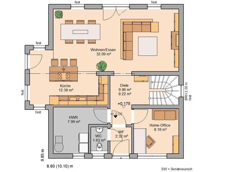 Moderne Interpretation Des Satteldach Hauses: Komfort Trendline Von Kern  Haus Zeigt Sich Mit über Die Dachfläche Ragenden Giebelwänden.
