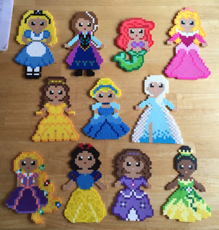 Disney Princess Perler Beads Hama Beads; Alice, Anna, Ariel, Aurora, Belle, Cinderella, Elsa, Rapunzel, Snow White, Sofia the first, Tiana