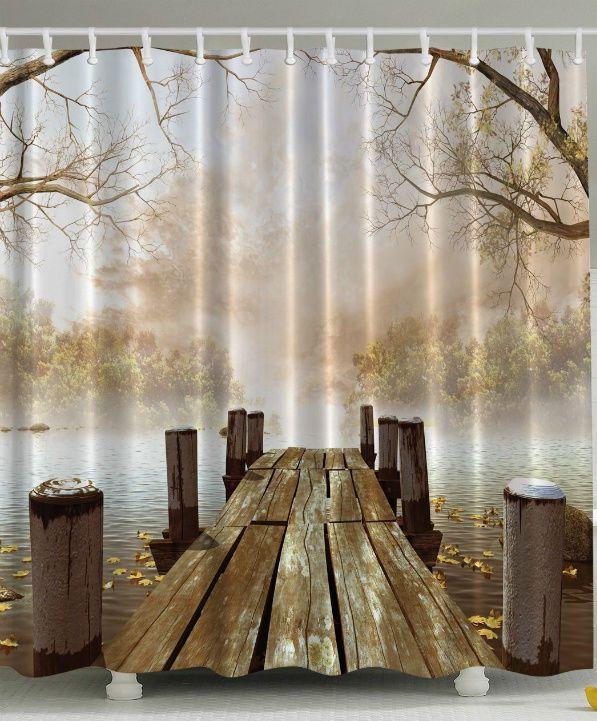 Rustic Bathroom Shower Curtain Set Brown Bath Accessories Fall Lake Decor New #Ambesonne