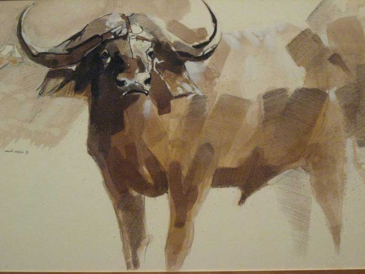 Mark Enslin 20th Century South African Mixed Media Buffalo Signed & Dated 78  24 x 34