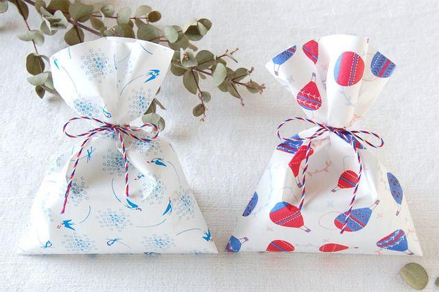 春の模様 ペーパーバッグ [ツバメ・気球] 2種セット