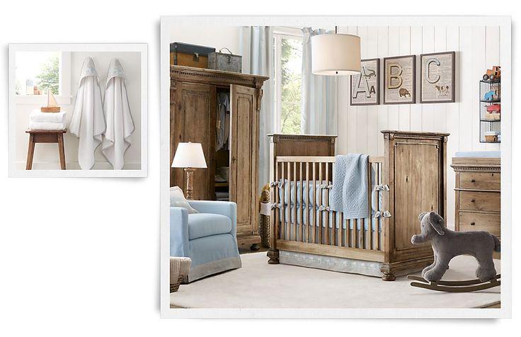 Rustic baby boy nursery with vintage alphabet wall decor by RH Baby & Child #nursery #baby