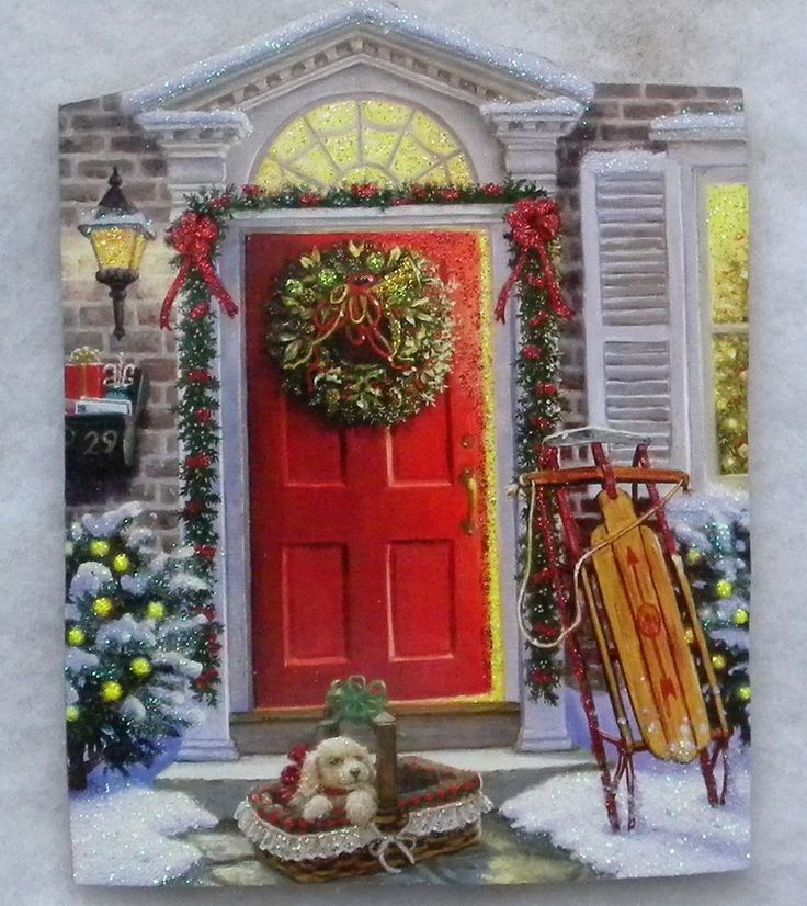 Holiday Front Door Sled Dog Vtg Greeting Card Glittered Wood Christmas Ornament