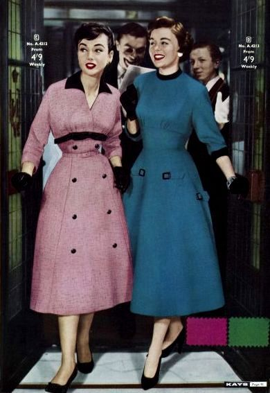Late 50s era pink blue day office dress buttons black photo print ad models Kays Catalog Autumn/Winter 1957. #vintage #fashion #dresses