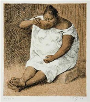 2 works: Ritual; Mujer bebiendo By Francisco Zuñiga ,1984
