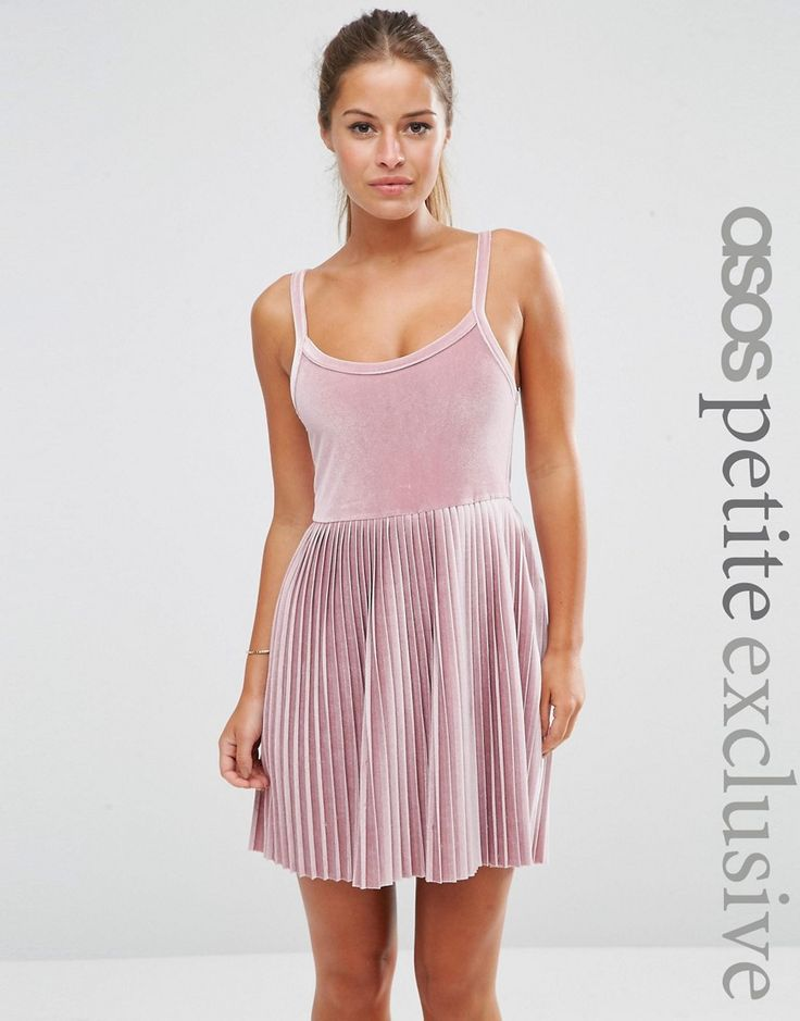 Image 1 of ASOS PETITE Cami Dress with Pleats in Velvet