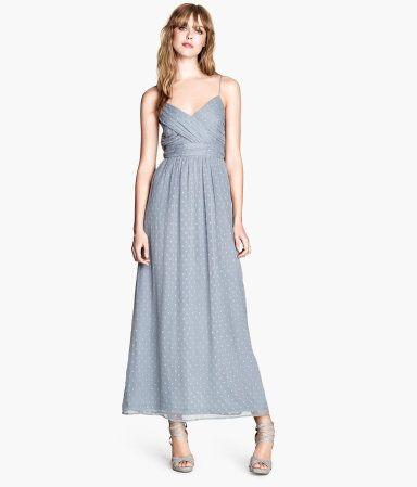 Blue-Gray Polka Dot Long Dress | H&M US