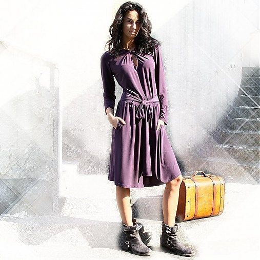Boho Style Dress Long Dress Violet Dress by MIAhandmadeshop, $79.00