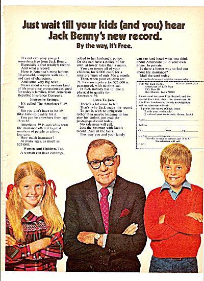 American republic Insurance co. - JACK BENNY  ad 1971 (Image1)
