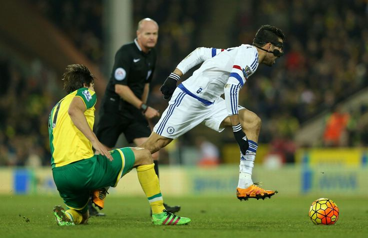 Timm Klose tackles Diego Costa: Norwich City 1-2 Chelsea - 1 Mar 16