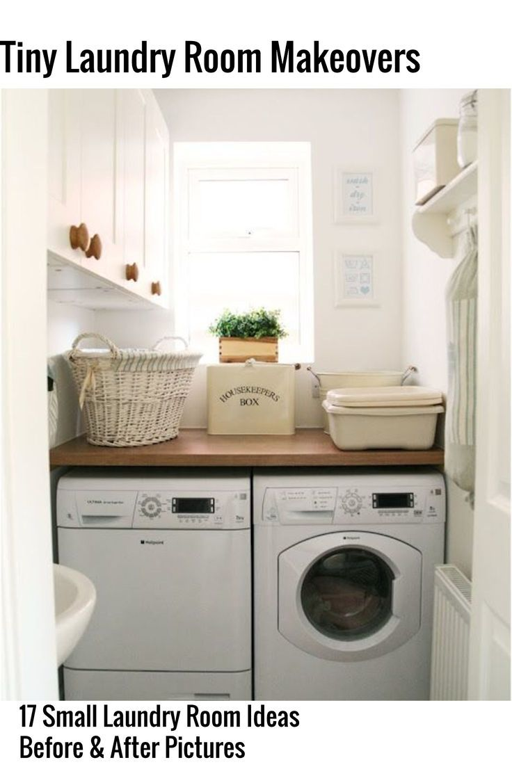 Small, tiny, apartment, hallway laundry room?  Take a look at these 17 before and after pictures of small laundry room makeovers, remodels and simple DIY ideas and  tweaks to make more space - even for a closet laundry room.