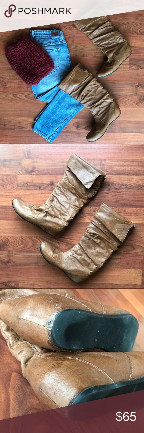 """Steve Madden Tan Boots - sz 6.5 Steve Madden Keen High Boots. 14"""" tall, tan/brown color, scrunched detail, size 6.5, golden cuff. Lightly worn, good condition. Perfect with your favorite skinny jeans, leggings or winter dress. Steve Madden Shoes Winter & Rain Boots"""