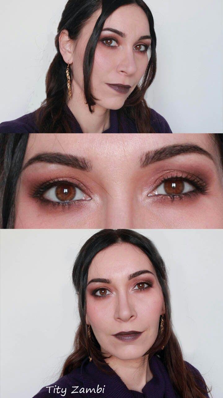 Make-up occhi rame e rossetto prugna per un look elegante dark lady #trucco #elegante #makeup #darklady #darklips