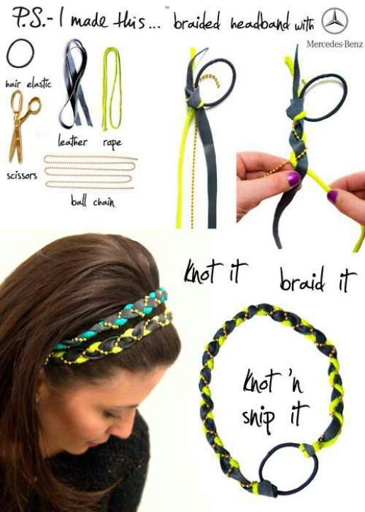 Easy braided headband --use a regular hair tie to connect