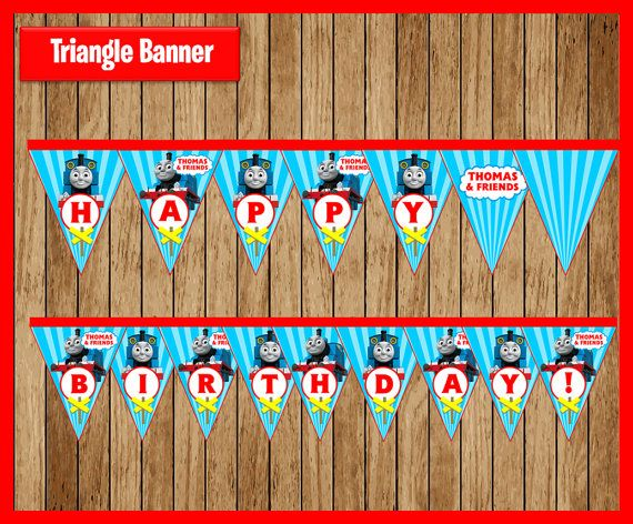 Thomas the Train Triangle Banner instant por myboutiquepartyfl