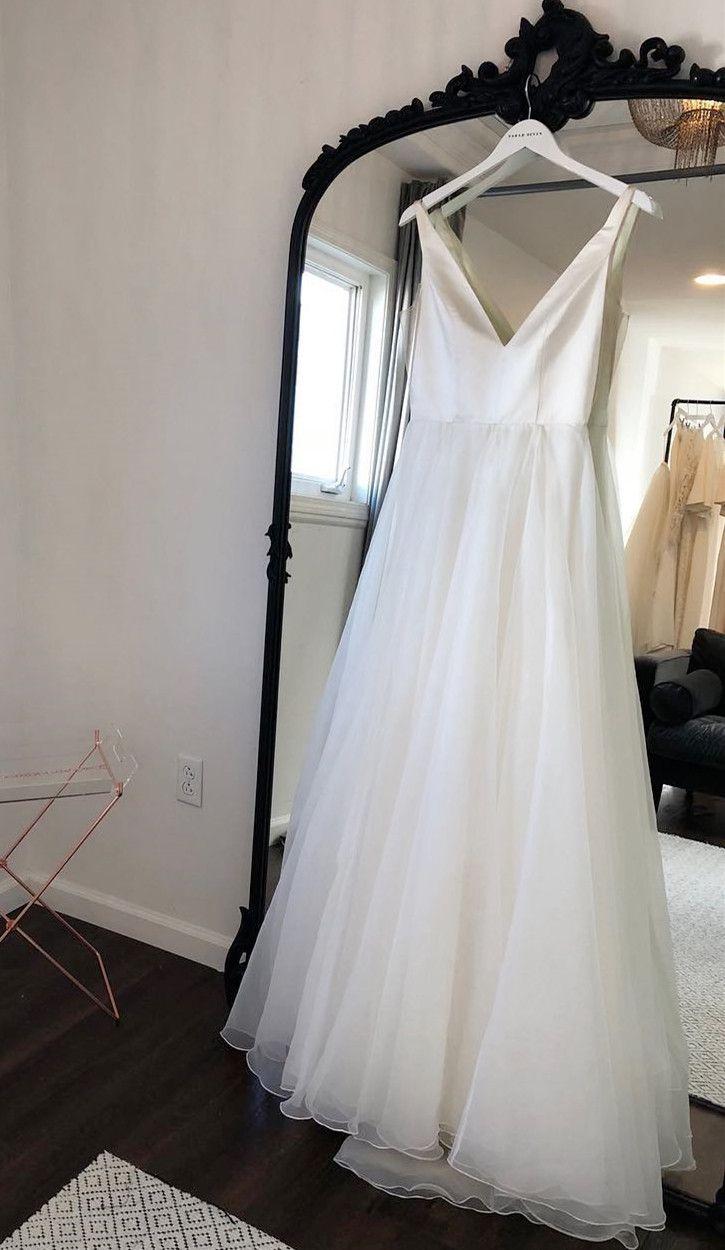 Princess v neck ivory tulle long wedding dress k hoco dresses